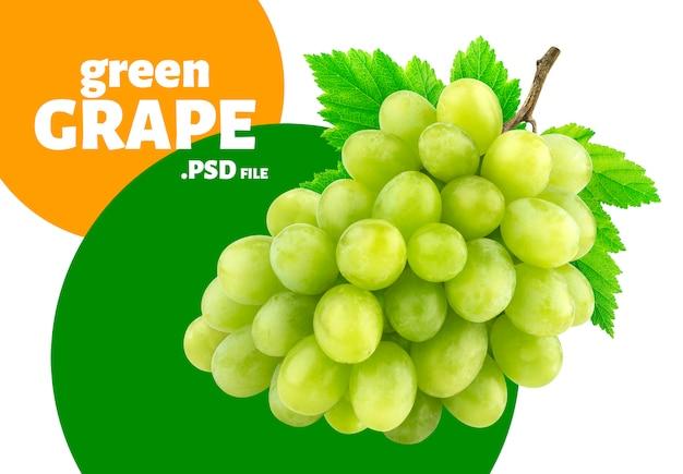 Uva verde com banner de folhas