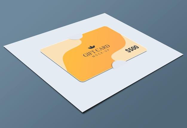Vale-presente com design de maquete de suportes de papel