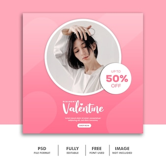 Valentine banner instagram social media post, moda branco menina