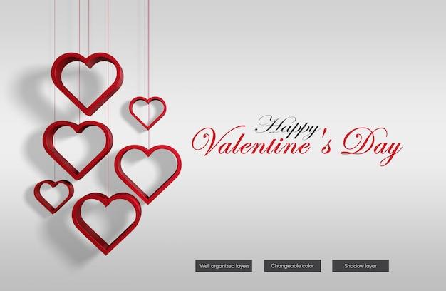 Valentine banner mockup design in 3d rendering