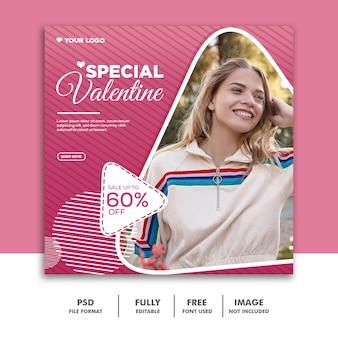 Valentine banner social media instagram, moda jovem rosa