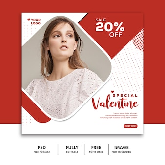 Valentine banner social media instagram, moda luxo vermelho