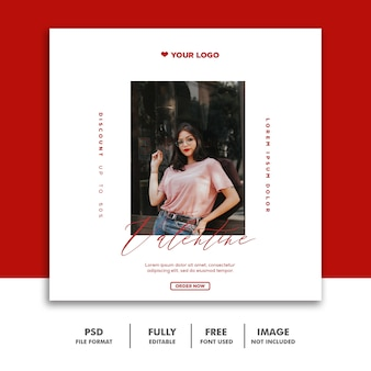 Valentine banner social media post instagram moda mulher