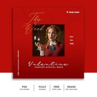 Valentine banner social media post instagram mulher moda