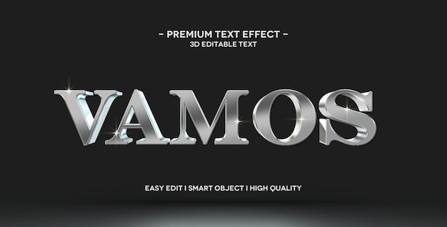 Vamos 3d text style effect mockup template