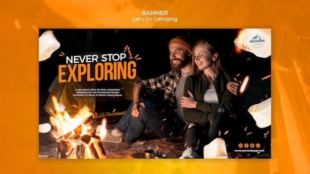 Vamos acampar banner template