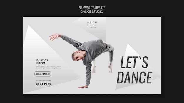 Vamos dançar o modelo de banner de dança de estúdio