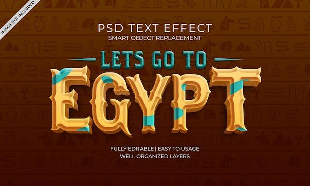 Vamos para o efeito de texto do egito Psd Premium
