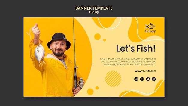 Vamos pescar homem no banner de casaco de pesca amarelo