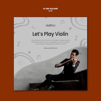 Vamos tocar violino panfleto quadrado