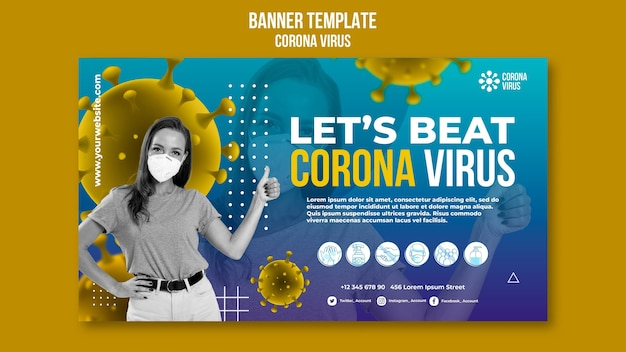 Vamos vencer o modelo de banner do coronavírus