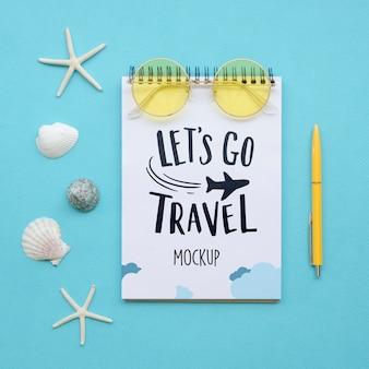 Vamos viajar maquete com conchas do mar