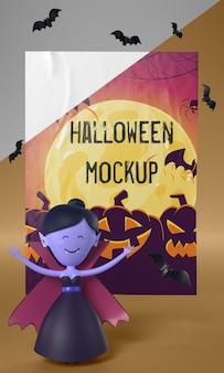 Vampiro ao lado do cartão de halloween