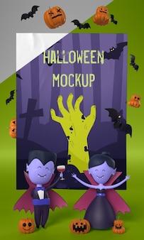 Vampiros ao lado do cartão de halloween