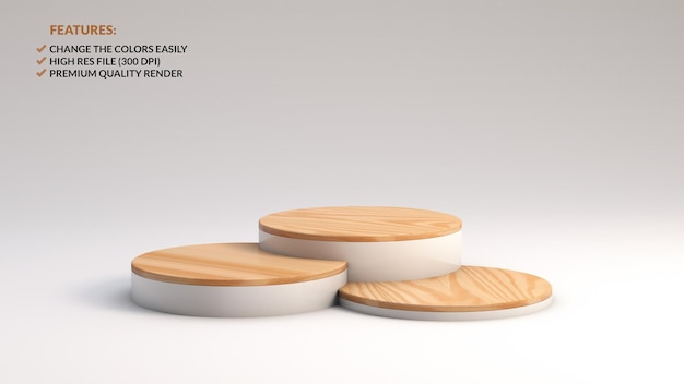 Várias alturas de pódios de madeira minimalistas em renderização 3d
