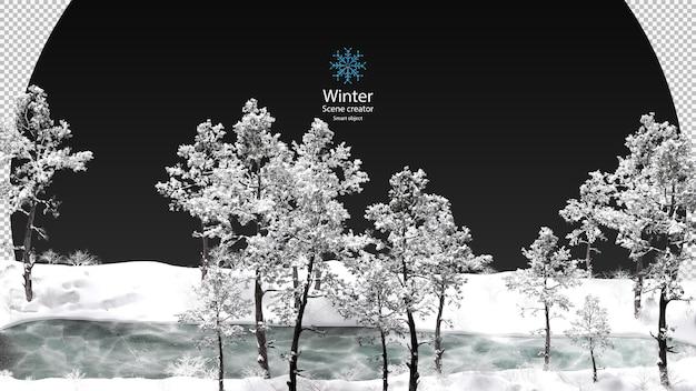 Várias árvores de inverno cercadas por trajeto de grampeamento