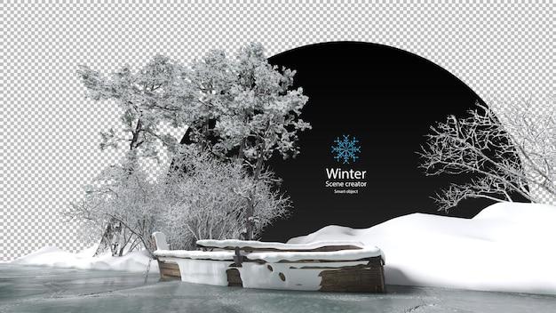 Várias árvores de inverno cercaram o caminho de recorte de fluxo congelado velho barco de madeira no gelo do córrego congelado