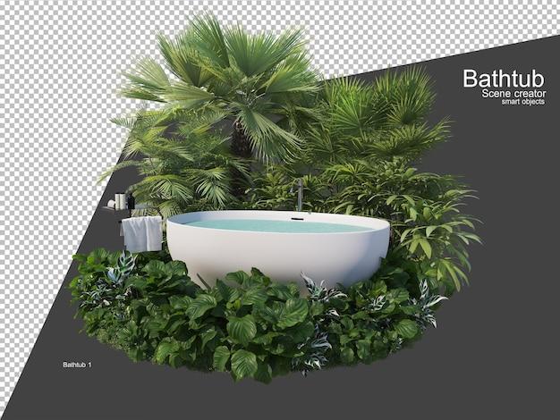 Várias plantas ao redor da banheira no jardim