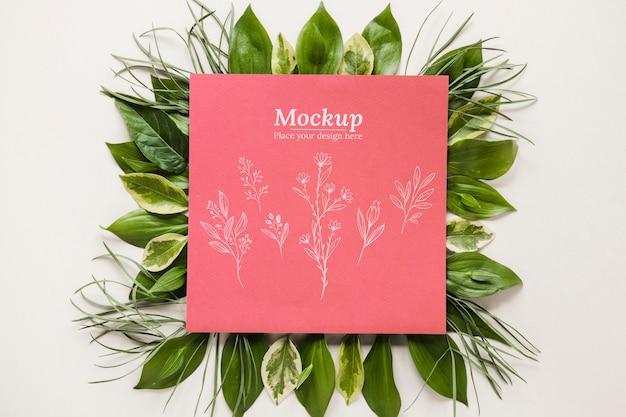 Variedade com cartão mock-up com folhas
