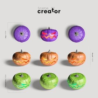 Variedade de abóbora esculpida de ângulos criador de cena de halloween