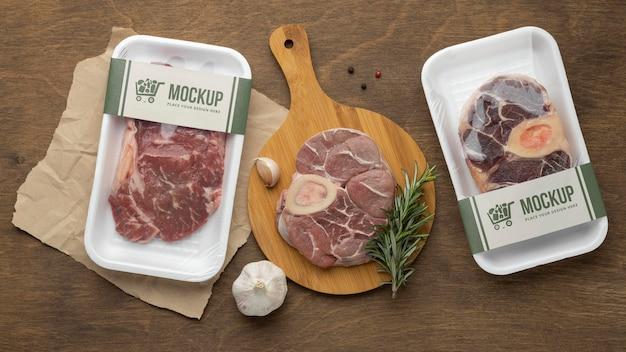 Variedade de alimentos congelados com embalagem mock-up