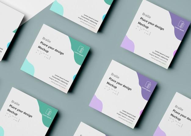Variedade de cartões de visita com design em braille