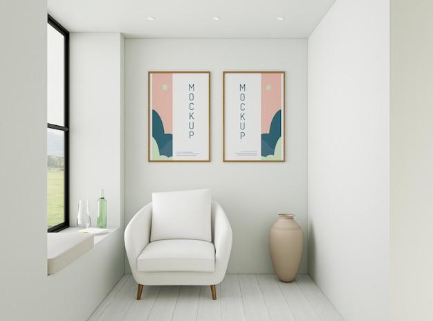 Variedade de casa com maquete de quadros