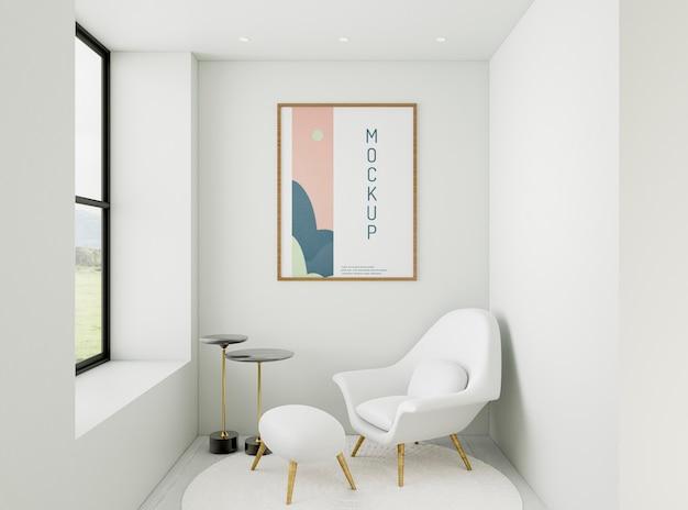 Variedade de casa minimalista de vista frontal com maquete de quadro