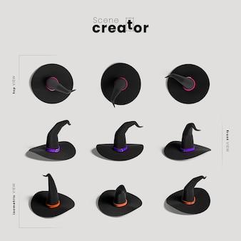 Variedade de chapéu de bruxa de ângulos criador de cena de halloween
