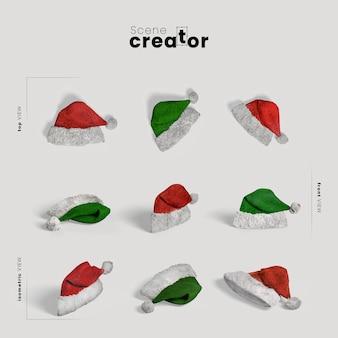 Variedade de chapéu de papai noel ângulos criador cena de natal