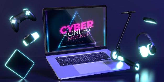 Variedade de cyber monday com novo modelo de laptop