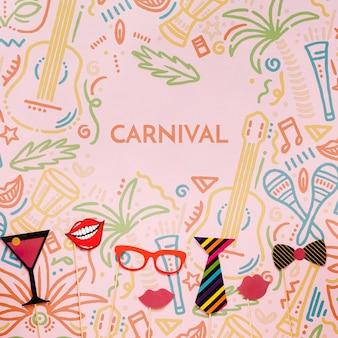 Variedade de decorações de carnaval