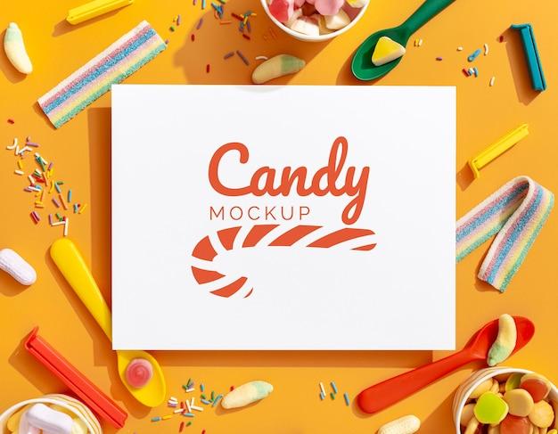 Variedade de doces doces com maquete
