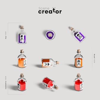 Variedade de garrafa de veneno de ângulos criador de cena de halloween