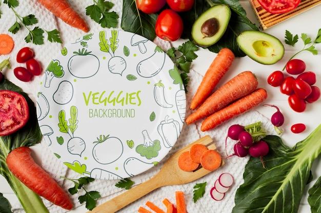 Variedade de legumes plana leigos com mock-up de placa
