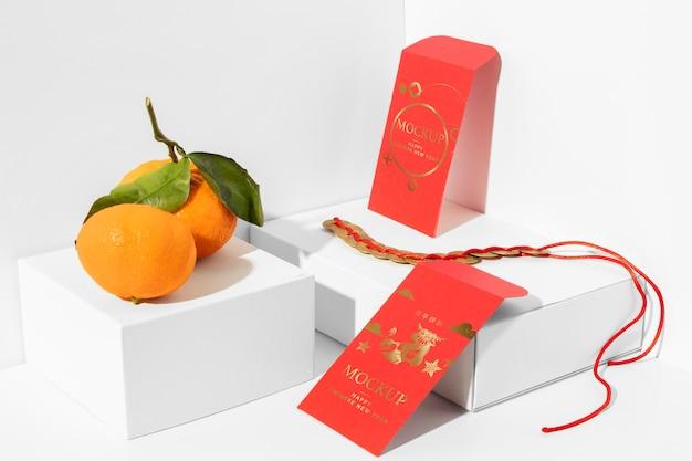 Variedade de maquete de elementos do ano novo chinês