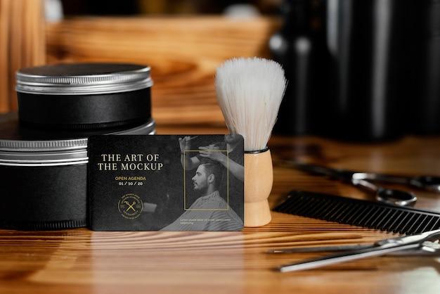 Variedade de maquetes de papelaria de barbearia