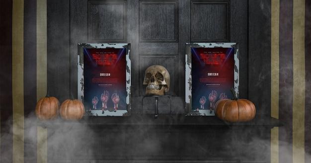 Variedade de maquetes de quadro de halloween vista frontal