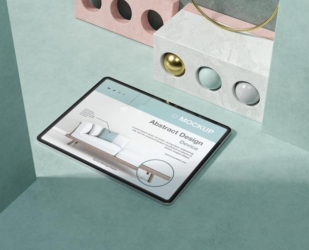 Variedade de maquetes de tablet com elementos de pedra e metálicos
