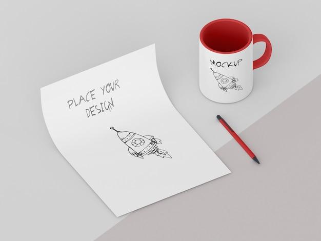 Variedade de mock-up de caneca personalizada