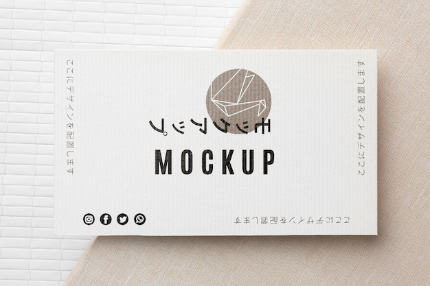 Variedade de mock-up de cartão de visita de vista superior