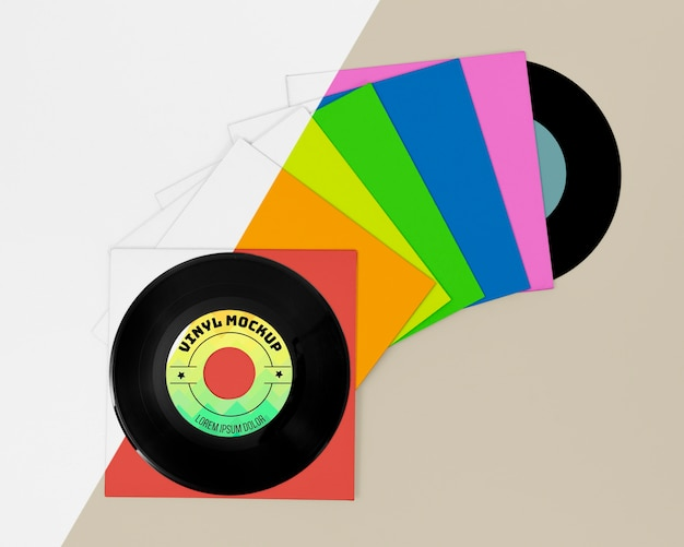 Variedade de mock-up de discos de vinil