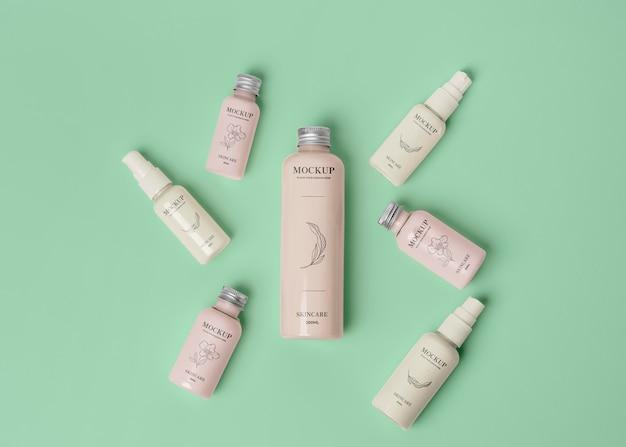 Variedade de mock-up de embalagens de cosméticos