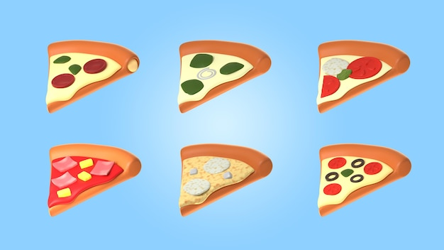 Variedade de mock-up de fatias de pizza