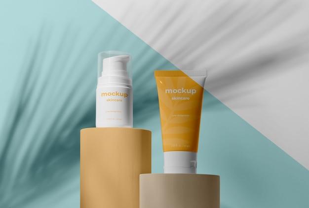 Variedade de mock-up de produtos para a pele