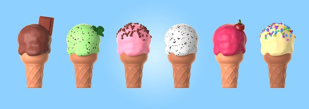 Variedade de mock-up de sorvetes
