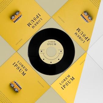 Variedade de mock-ups de discos de vinil planos