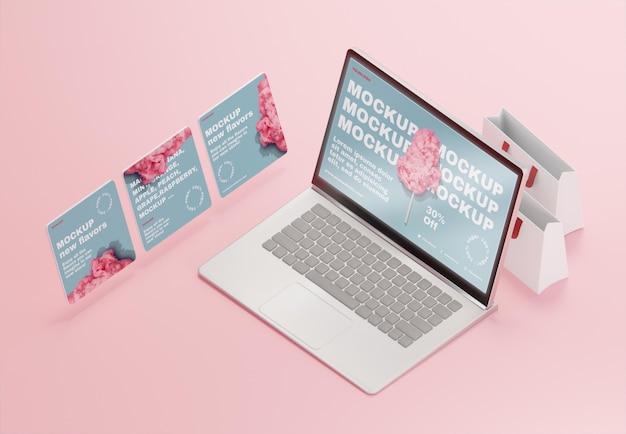 Variedade de negócios criativos com maquete de laptop