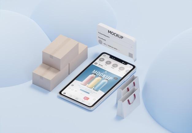 Variedade de negócios criativos com maquete de smartphone