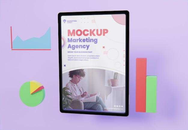 Variedade de negócios criativos com maquete de tablet